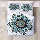 Jior Home Art Bettwäsche Set Bettbezug Und 2 Kopfkissenbezug Atmungsaktiv,Anti Milben,Geeignet Für Allergische Haut,Ideal Für Kinder Jugendliche Schlafzimmer Pfauenfeder,155x220cm