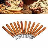Legno carving set, Kwow SK5in acciaio al carbonio con manico in legno coltello da intaglio strumenti, professionale scultura scultura del legno lavorazione scalpello per DIY Art Craft argilla carpenteria principianti amatoriali (12pezzi)...