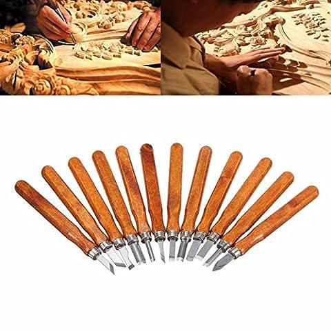 Holz Tranchier-Set, kwow SK5CARBON Stahl Griff Holz Tranchiermesser Werkzeuge, professionellen Skulptur formbare Holz, Meißel für Heimwerker Art Craft Clay Zimmerei Anfänger Amateur (12Set)...