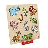 Hape – e6318 ojal – Puzzle de madera – animales