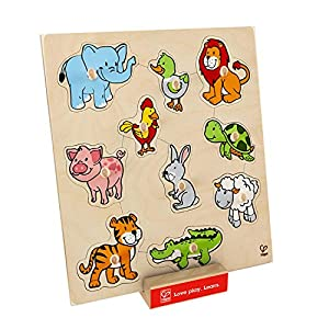 Hape-e6318Ojal-Puzzle de Madera-Animales
