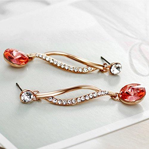 Neoglory Jewellery Swarovski Eléments Or 14K Boucles d'Oreilles Elégantes Bijoux En Coffret Femmes Orange