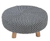 Homescapes Moderner Strick Sitzhocker grau Fußhocker rund Schemel 62 x 62 x 30 cm mit gestricktem Baumwoll Bezug und Holzbeinen