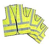 Erwachsene Tasche Detail Gelb Hi Vis Reflektierende Reißverschluss Warnweste - x 4