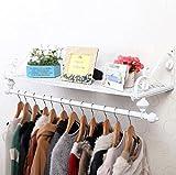 Clothes hat shelf Kombigestell/Europäische Schmiedeeisen-Garderobe/pastoraler Kleiderhaken/Wandmontage Einfache Wandgestell/Wandgestell/Kombi-Racks / (60/80/100/120 * 28cm)