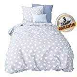 Aminata kids - Premium Bettwäsche-Set Stern-Motiv blau 155-x-220-cm - Komfort-Größe Männer, Damen, Jugendliche - Baumwolle, Reißverschluss, Pastell, Weiß, Sterne, Stars