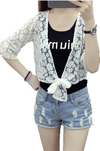 Petit Châle Sauvage Cardigan Mince Creux A Manches Courtes Veste Verges Vêtements Antisolaire Monissy Blanc 3