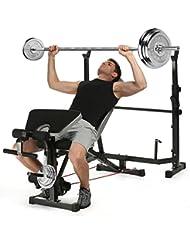 Ancheer Banc de musculation complet Musculation avec Support de barre Réglable Pliable Station de musculation pour muscles abdominaux