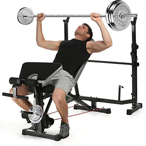 Bunao Hantelbank mit Ablage Trainingsbank klappbar und Verstellbar - TüvRheinland Zertifiziert Flachbank Bankdrücken Fitnessgerät multifunktional (Schwarz1) - Mit Gewichten Fitnessgerät