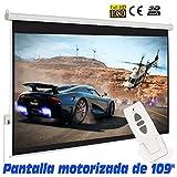 """Pantalla de proyeccion electrica de 109"""" ( 233x146cm ), borde perimetal negro, compatible con FULLHD y 4K, mando a distancia incluido"""