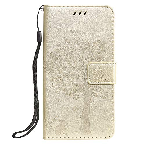 Tosim Galaxy A20E Hülle Leder, Klapphülle mit Kartenfach Brieftasche Lederhülle Stossfest Handyhülle Klappbar Case für Samsung Galaxy A20E - TOKTU080351 Gold