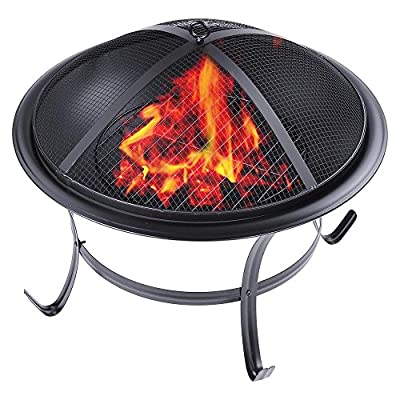 Reasejoy Fixed Leg Round Charcoal Fire Pit 56cm22 Patio Heater Grill Garden Stove Fireplace by ReaseJoy