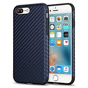iPhone 7 Plus Case, Tendlin [Ultra Slim] Carbon Fiber Textures Back Flexible TPU Shockproof Cover Case [Exact-Fit] for iPhone 7 Plus (Navy Blue)