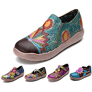 gracosy Leather Loafers Flat Shoes for Women Summer Slip-On Sandals Handmade Comfortable Moccasins Spring Slippers Vintage Flower Pattern Boat Outdoor Casual Walking Shoes Size Green 6 UK