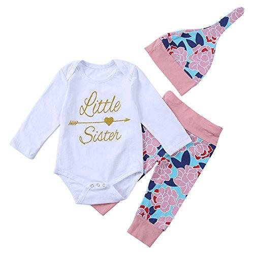 Chiolife Baby Jungen Mädchen Brief Schwester Brief Gedruckt Bodysuit und Floral Hosen Outfit mit Hut (Anzug Floral)