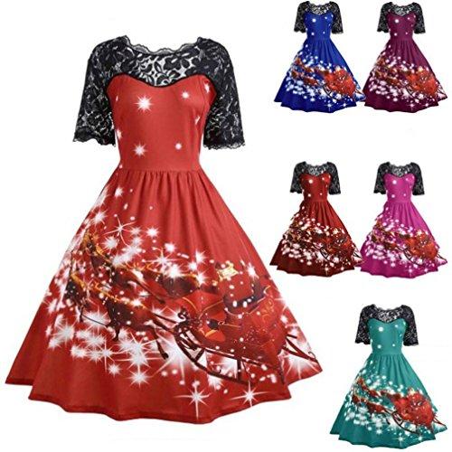 Overdose Women Dress Christmas Party Dress Ladies Vintage Xmas Swing Lace Evening Dress