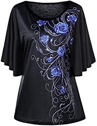 1e557e600e8837 Mounter Women Short Sleeve Tops, Ladies Summer Casual Floral Drape Sleeve T-Shirt  Shirts