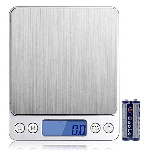 Digitale Küchenwaage IDAODAN 3000*0.1g Lebensmittel Grammschuppen Electronische Professionelle Waage Feinwaage mit Beleuchteter LCD-Anzeige Silber