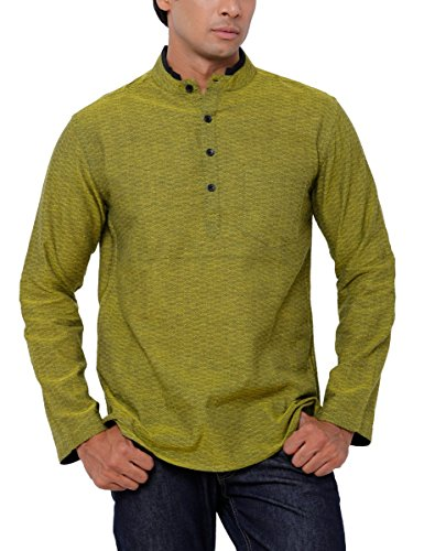 SVANIK Men's Mid Thigh Cotton Kurta (SVCK1844_Small_Green)