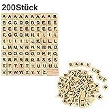 200 Stück Holz Alphabet Scrabblefliesen Buchstaben Scrabble Buchstabene Crafts für das Kunsthandwerk,Vorschulerziehung für Kinder Scrabble Buchstaben Scrabblefliesen zum Spielen