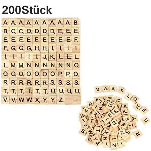 Crazy-M 200 Piezas de Madera Alfabeto Scrabble Azulejos Scrabble Letras Manualidades Artesanía, Educación Preescolar para niños Scrabble Letras Azulejos Scrabble para Jugar