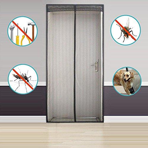 Mosquitera con Fijación Magnética 90x210cm/100x220cm,Adhesivo velcro cortinas mosquiteras para fijar puertas anti-mosquitos magnéticos