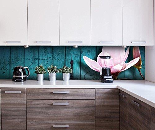 wandmotiv24 Küchenrückwand Holz Blüten Paris Eiffelturm Nischenrückwand Spritzschutz Design M0543 260 x 60cm (B x H) - Hartschaum 3mm