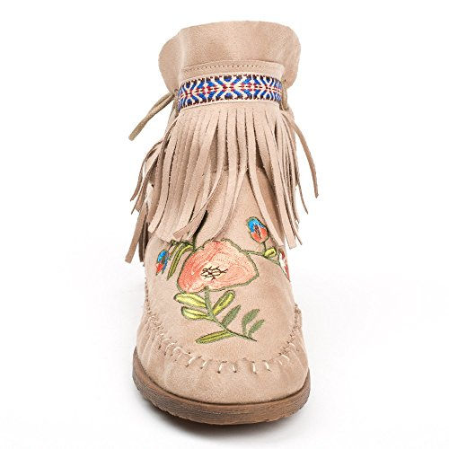 Ideal Shoes - Bottines effet daim avec broderies et franges Abbie Beige