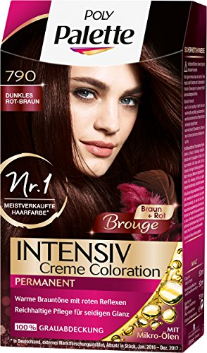 Poly Palette Intensiv Creme Coloration, 790 Dunkles Rot und Braun, 3er Pack (3 x 115 ml)