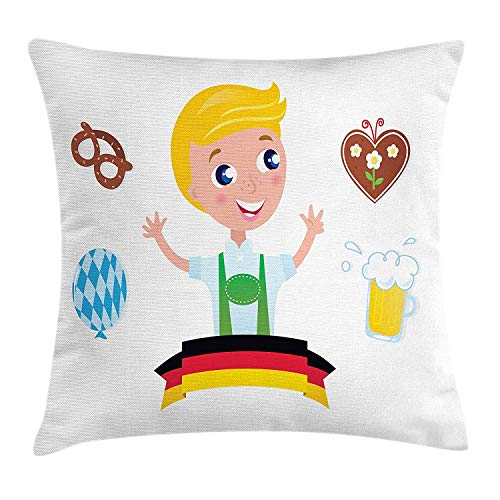 ziHeadwear German Throw Pillow Cushion Cover, Bavarian Boy with Blonde Hair with Oktoberfest Symbols Beer Balloon and Pretzel, Decorative Square Accent Pillow Case, 18 X 18 inches, Multicolor Bavarian Beer House