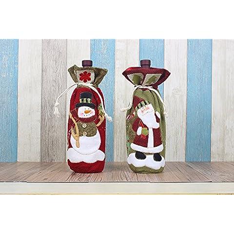 Moonmini Kit da 2 Sacchetti Natalizi Bottiglie Vino Sacco Idee Regali Originali da Appendere Buste Regalo Bustine Natalizie Addobbi Tavola Natalizia Natale Decorazioni Cucina e Casa