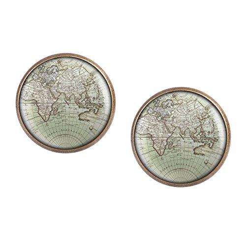 Mylery Ohrstecker Paar mit Motiv Welt Erde Land-Karte Europa Afrika Asien Ozeanien bronze 16mm