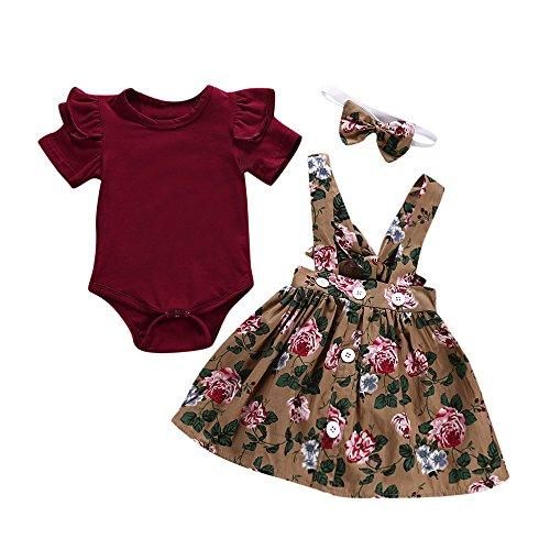 Baby Gap Outfit (Alwayswin Baby Mädchen Fester Overall Spielanzug + Blumendruck-Hosen + Stirnband-Outfits Mode Kurzarm Einfarbiger Strampler + Hose mit Blumendruck + Haarband-Set Süß A-Linien Kleid)