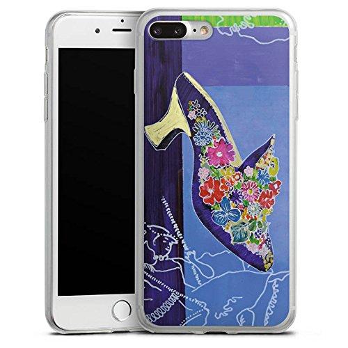 Apple iPhone 8 Plus Slim Case Silikon Hülle Schutzhülle Schuh Blumen Muster Silikon Slim Case transparent