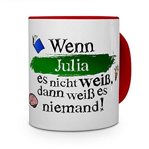 printplanet Tasse mit Namen Julia - Layout: Wenn Julia es Nicht weiß, dann weiß es niemand - Namenstasse, Kaffeebecher, Mug, Becher, Kaffee-Tasse - Farbe Rot