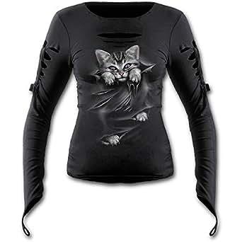 Spiral - Women - BRIGHT EYES - Slashed Goth Glove Top Black - Small
