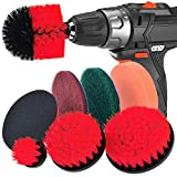WENTNI Cepillo de Taladro Exfoliante Almohadillas de 8 Piezas para Limpiar el Limpiador de fregadoras para Limpieza de la Piscina (Rojo)