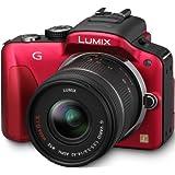 Panasonic Lumix DMC-G3KEG-R Systemkamera (16 Megapixel, 7,5 cm (3 Zoll) Touchscreen, elek. Sucher) Gehäuse rot inkl. Lumix G Vario 14-42mm Objektiv