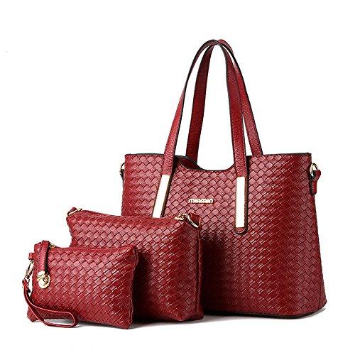 Alidear Neue Marke und Qualität Mode Damen Shopper Ledertaschen Handtaschen Umhängetasche Schultertasche Tote Bag Weinrot