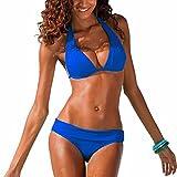 DELEY Femmes Rétro Cou Halter Sexy Populaire Push Up Bikini Triangle Brésilien Maillots De Bain Vacances Plage Swimwear