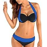 OIKAY Damen Bikini Set Bikini für mollige Bügel Push up Striped Badebekleidung Bikini Oberteil Punkte(Blau,M)