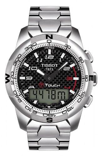 Tissot T-Touch II carbonio nero in titanio multifunzione al quarzo da uomo orologio #T047, 420,44,207,00