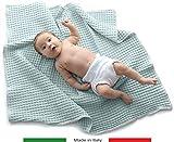 Baby Italy Copertina Neonato in Cotone Biologico per Carrozzina,Culla,Lettino,Passeggino-Prodotto Italiano,70x90cm (azzurro)