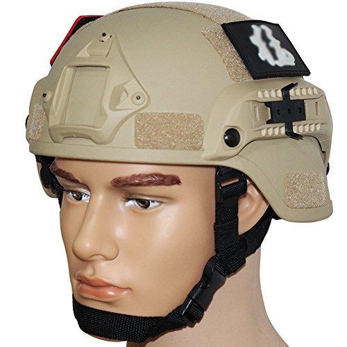 Aktion Version Taktische Helm ABS Helm mit NVG Halterung und seitliche Schienen (Sandstrand) (Paintball-schiene)