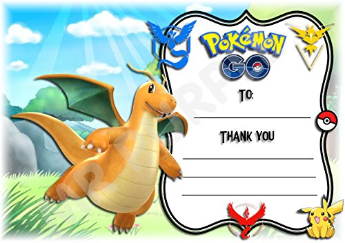 Pokemon Thank You For Coming Geburtstag Party Karten - Dragonite Design - Party Supplies/Zubehör (12 Stück A6 Thank You Karten) WITHOUT Envelopes