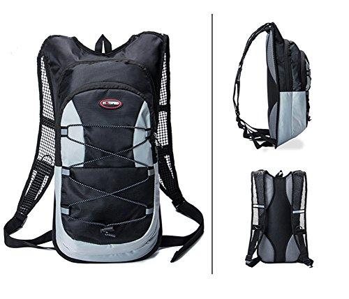 YiJee 12L Wasserdicht Fahrrad Schulter Rucksack Ultralight für Radsport Outdoor Reiten Bergsteigen Hydration mit 2L Wasserbeutel Schwarz