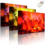 Lightbox-Multicolor | Beleuchtetes Bild | Holzkohle Feuer | 100x70 cm | Fully Lighted