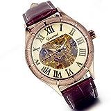 Lancardo Herren mechanische Automatik Business Casusl Armbanduhr Skelett Automatikuhr Uhr mit römische Ziffern Zifferblatt, Leder Armband, braun