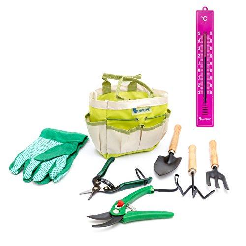 Lantelme 6134 Pflanzen - Garten Werkzeug Set mit Analog Thermometer 8 tlg