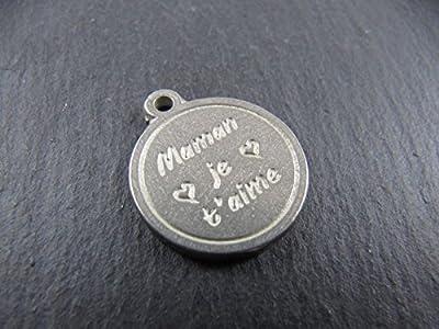 """Médaille en étain 17 mm"""" Maman je t'aime"""""""